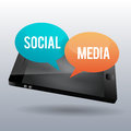 Social media phone vector illustration of talk bubble on a Stock Image