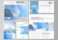 Social media posts set. Business templates. Vector layouts in popular formats. Blue color abstract infographic