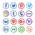 Social media rounded and colorfull Royalty Free Stock Photo