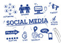 Social media scribble refers to interaction among people in which they create share and or exchange information and ideas in Royalty Free Stock Photography