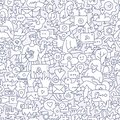 Social Media Seamless Doodle Pattern