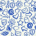 Social media seamless pattern doodles on school squared paper Royalty Free Stock Photos