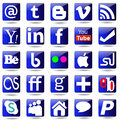 Social media set icons colorful web buttons Stock Photo