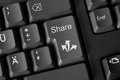 Social media sharing concept computer keyboard with button Royalty Free Stock Images