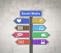 Social media sign board illustrated in drawing format Stock Image