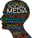 Social Media silhouette of  head with the words Stock Image