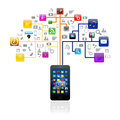 Social media with smartphone  colorful application icon,isolated Stock Photo
