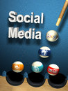 Social media success concept as billiards table with balls google facebook twitter blogspot and youtube tree target by one shoot Royalty Free Stock Photo