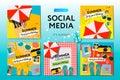 Social media templates Summer Time, use for brands and blogger, modern promotion web banner for social media mobile apps