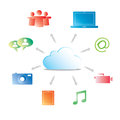 Social media vector illustration in the cloud concept with icons Royalty Free Stock Photos