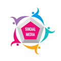 Social media - vector logo template illustration. Pentagon sign with abstract shapes of people. Friendship teamwork concept layout