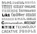 Social media vector sketch text collection of hand drawn words on the and communication theme written in different style and fonts Royalty Free Stock Photography