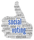 Social media vote concept voting in word tag cloud on white background Stock Photography