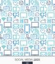Social Media wallpaper. Network communication seamless pattern.
