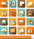 Social media web icons set of detailed flat with long shadows Stock Image