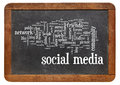 Social media word cloud on blackboard a vintage slate isolated white Royalty Free Stock Image