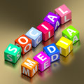 Social media words on toy blocks colorful Royalty Free Stock Images