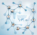 Social network abstract presentation of a with people avatars connected to each other Royalty Free Stock Images