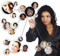 Social network of African American businesswoman Stock Images