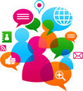 Social network backgound with media icons Royalty Free Stock Photo