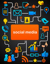 Social network background with media icons Royalty Free Stock Images