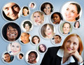 Social network of businesswoman. Stock Photo