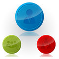 Social network button designs with glossy surface Stock Photography
