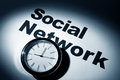 Social network clock and word of for background Stock Photography