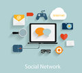 Social network concept flat vector illustration Stock Image