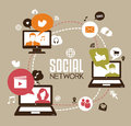 Social network design with laptop and media icons Royalty Free Stock Photography