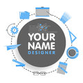 Social network designer avatar. Place for your name. Template of the artist portfolio, banners, announcements, web sites Royalty Free Stock Photo