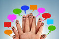 Social network family concept finger people in discussion with speech bubbles Stock Photo