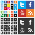 Social network flat multi colored icons mono color black set with like button vector illustration in cs and eps contain Royalty Free Stock Images