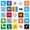 Social network flat multi colored icons set with like button vector illustration in cs and eps contain transparency Royalty Free Stock Images