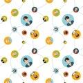 Social network flat seamless pattern