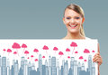 Social network happy blonde girl holding up a city banner Royalty Free Stock Photography