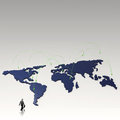 Social network human d on world map businessman walking to as concept Stock Photos