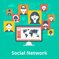 Social network icons composition poster computer media participants avatar and symbols design infographic chart map vector Stock Images