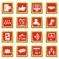 Social network icons set red