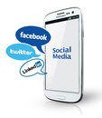 Social network johor malaysia jan photo of facebook twitter linkedin icons and smartphone there are famous website in the world Royalty Free Stock Photography