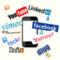 Social Network Logos with phone Royalty Free Stock Photography