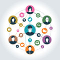 Social network with media icon group of people Royalty Free Stock Photo