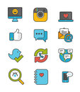 Social network and media icon set flat Stock Photo