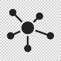 Social network, molecule, dna icon in flat style. Vector illustr Royalty Free Stock Photo