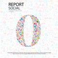 Social network numberbakgrund med massmediasymboler Arkivbilder