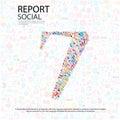 Social network numberbakgrund med massmediasymboler Royaltyfri Fotografi