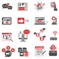 Social Network Red Black Icons Set Royalty Free Stock Photo