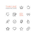 Social Network Signs - Thin Line Icons Set Royalty Free Stock Photo