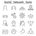 Social Network & Social Media icon set in thin line style Royalty Free Stock Photo