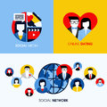 Social network social media and online dating concepts modern flat vector Royalty Free Stock Photos